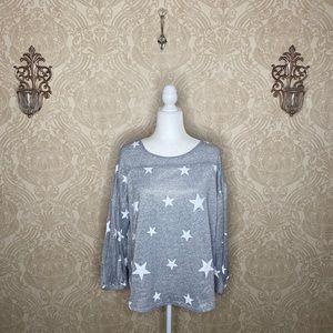 BOGO Moda star bubble long sleeve scoop neck top